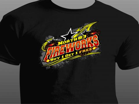north 83 fireworks t-shirt front